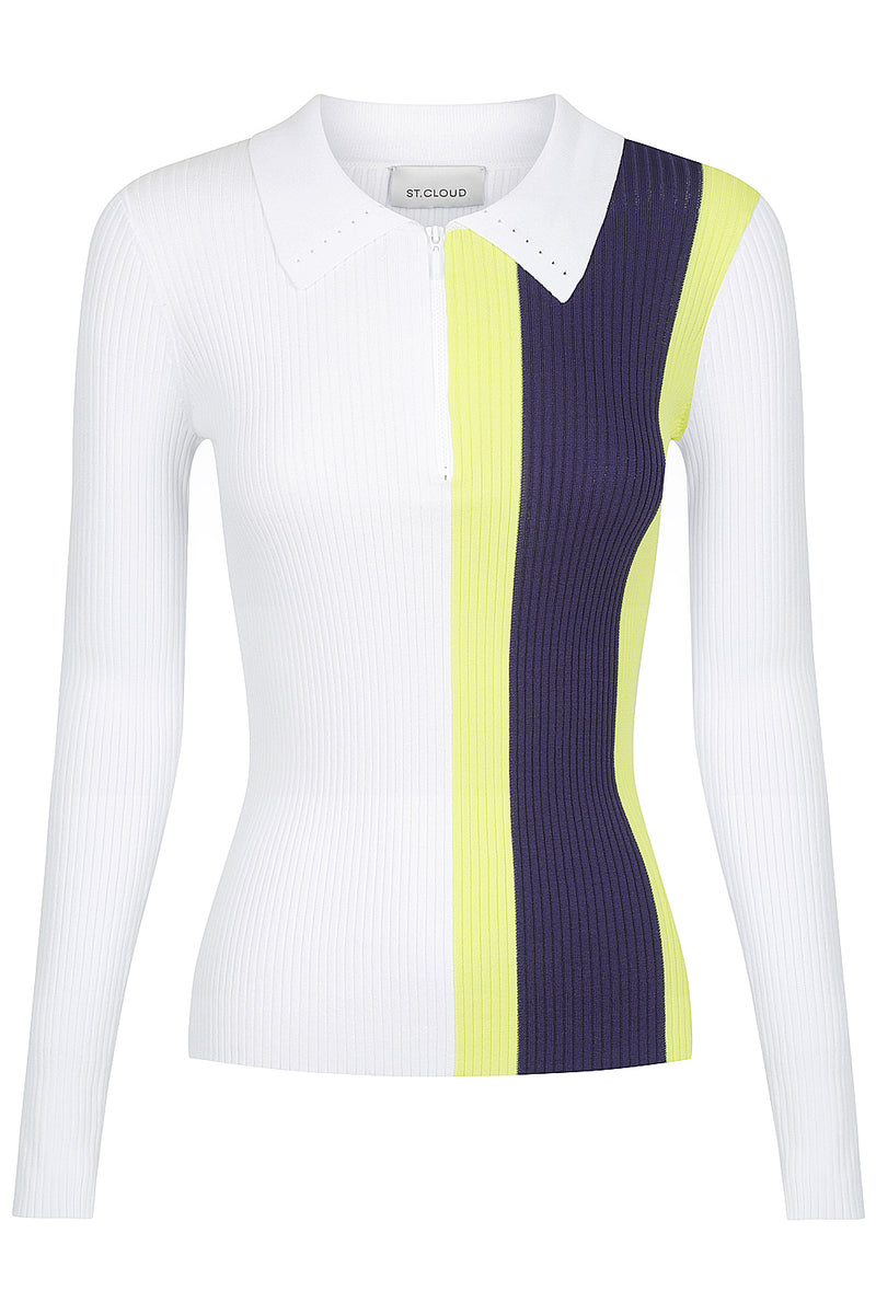 Long Sleeve Zip Polo - White Stripe