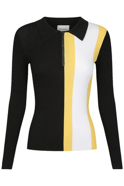 Long Sleeve Zip Polo - Black Stripe