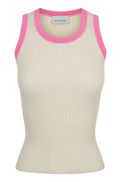Contrast Trim Tank - Stone with Pink