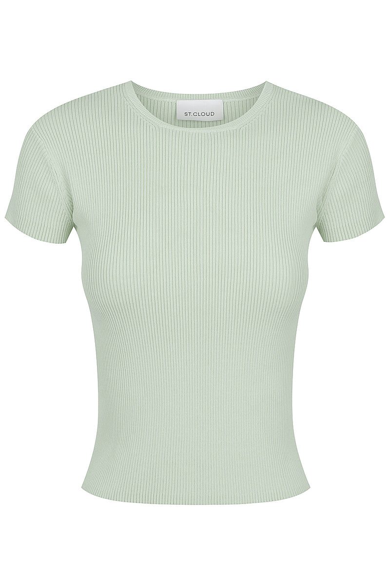 Beautiful Rib Knit Tee - Pistachio