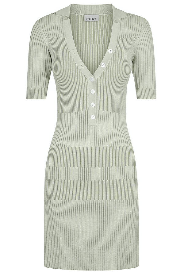 Two Tone Polo Dress - Pale Sage / Sage