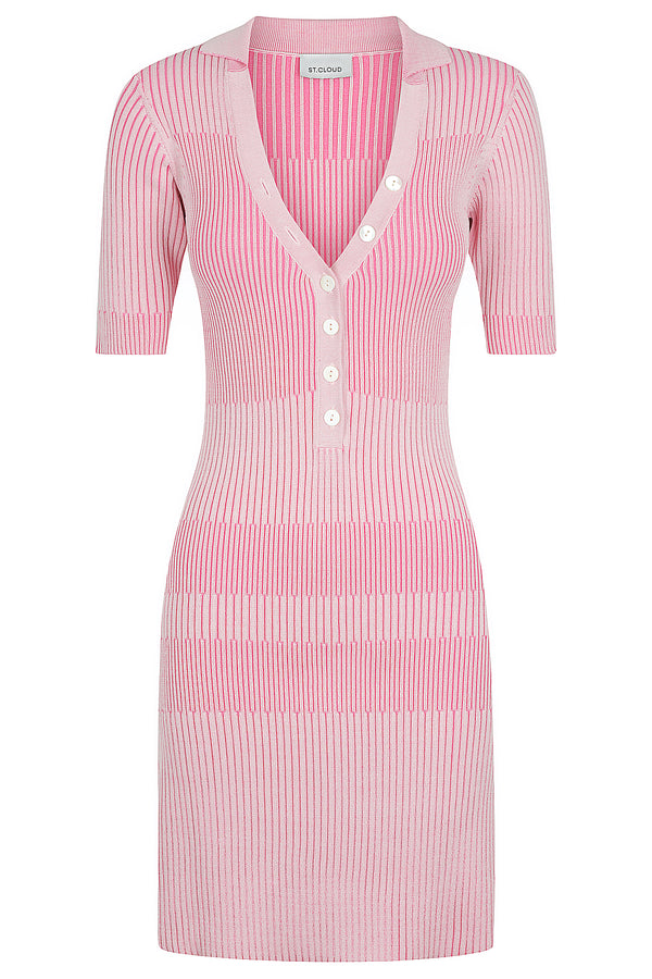 Two Tone Polo Dress - Candy Pink / Bubblegum