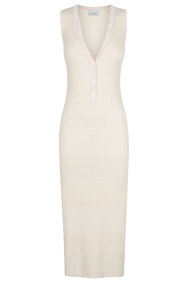 Two Tone Deep V Dress - Porcelain / Pale Pink