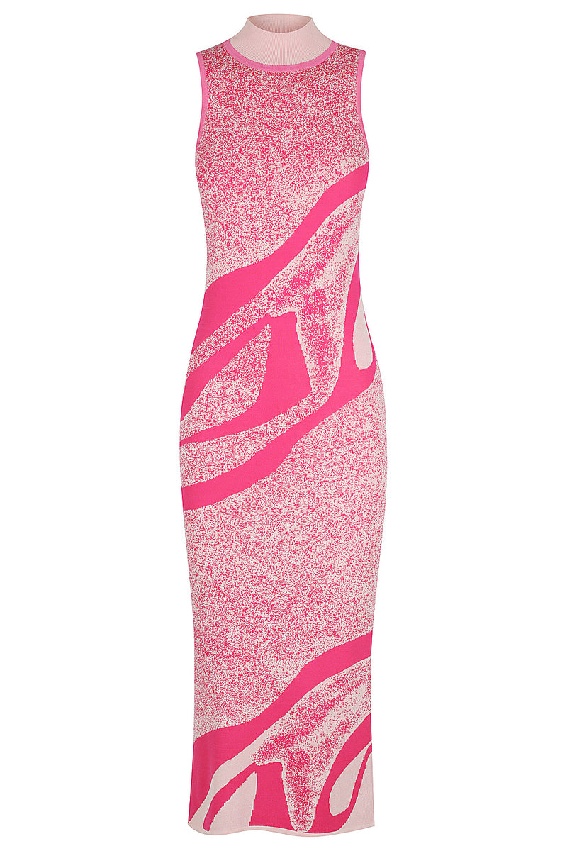 Kaleidoscope Knit Dress - Hot Pink