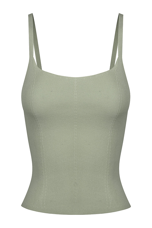 Stitch Detail Knit Singlet - Mist Green