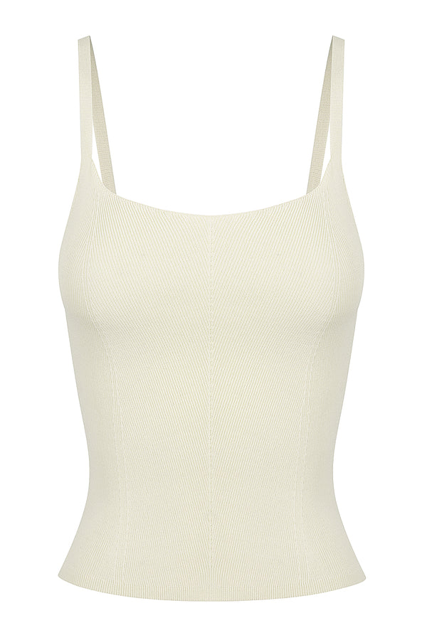 Stitch Detail Knit Singlet - Porcelain