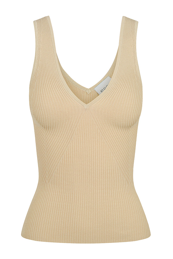 Deep V Neck Tank - Tan