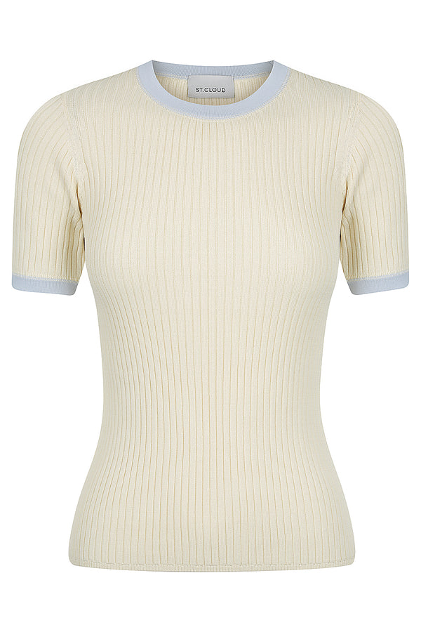 Contrast Trim Tee - Porcelain with Baby Blue Trim
