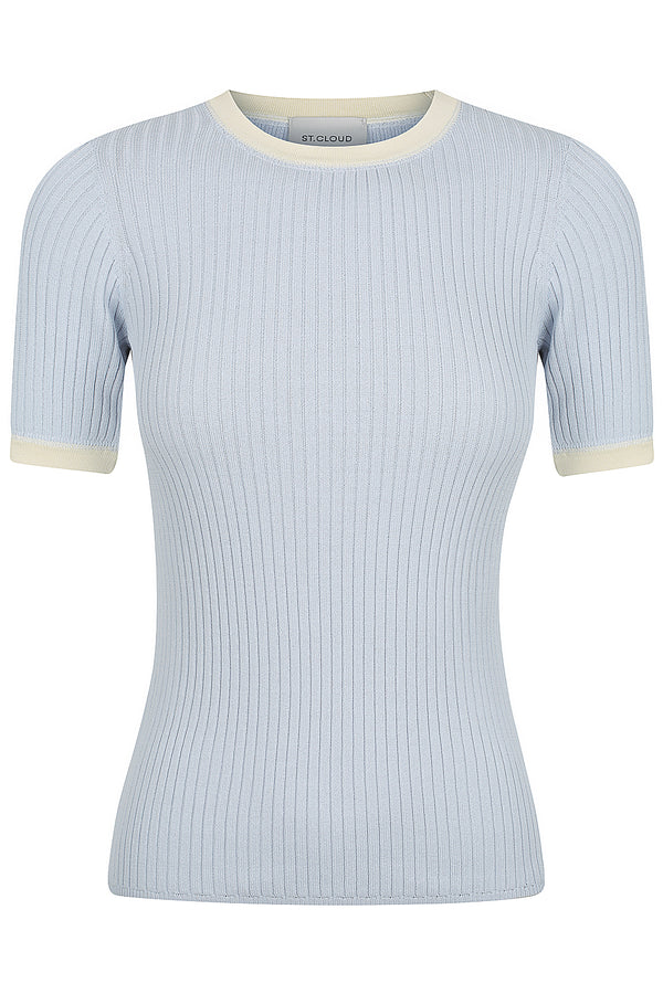 Contrast Trim Tee - Baby Blue with Porcelain Trim