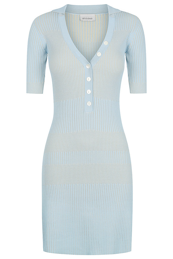 Two Tone Polo Dress - Pale Blue