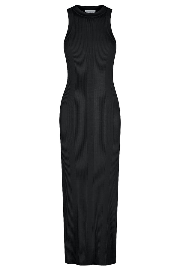 Racer Back Knit Midi Dress - Black
