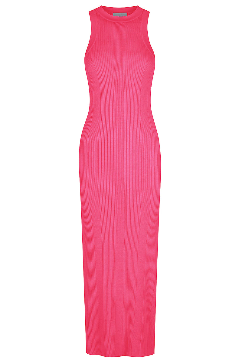 Racer Back Knit Midi Dress - Hot Pink