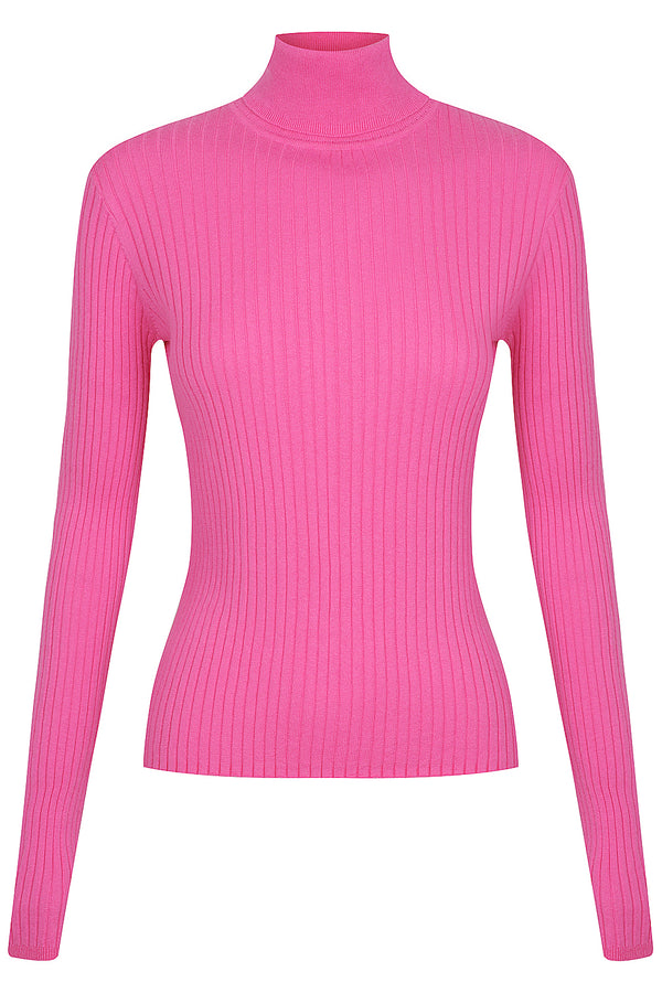 Long Sleeve Rib Turtle Neck - Dragon Fruit by  St Cloud Label