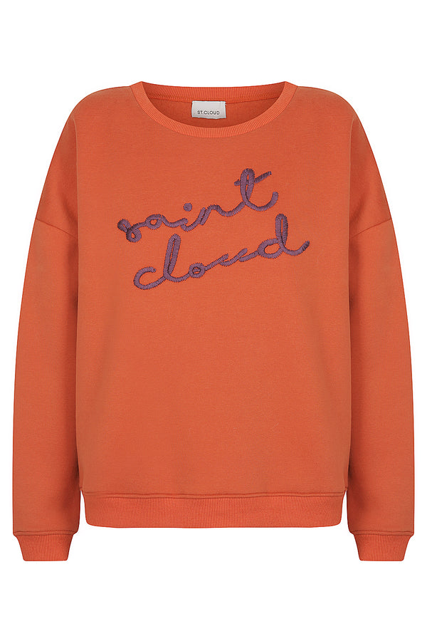 Elbrus Hand Embroidered Sweat - Orange with Purple by  St Cloud Label