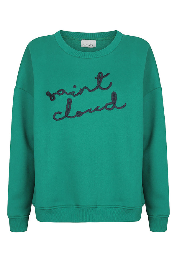 Elbrus Hand Embroidered Sweat - Emerald with Navy by  St Cloud Label