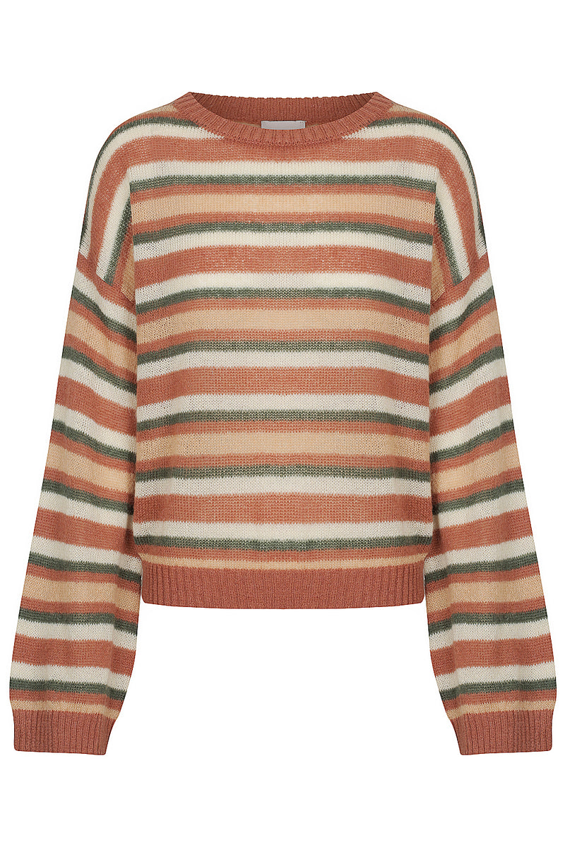 Tasman Stripped Bell Sleeve Jumper - Brown Stripe by  St Cloud Label
