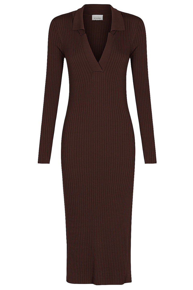 Long Sleeve Polo Dress - Brown by  St Cloud Label