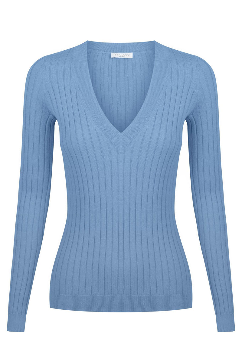 Long Sleeve V Neck Knit - Indigo Wash