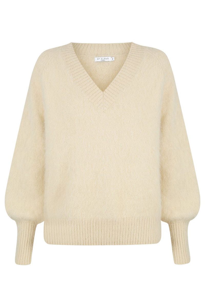 Fluffy V Neck Pullover - Oat