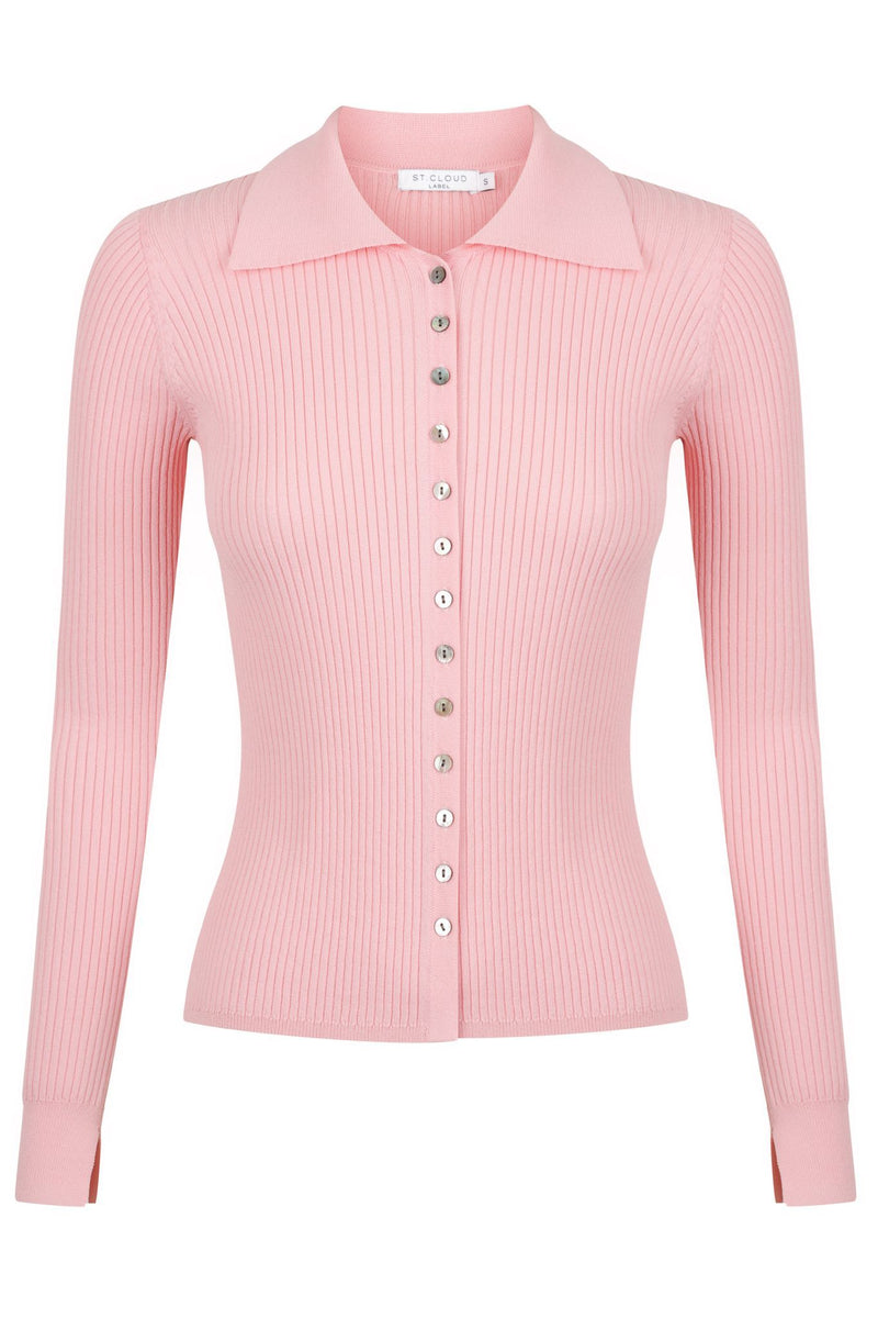 Long Sleeve Polo Cardi Knit - Pink Lemonade