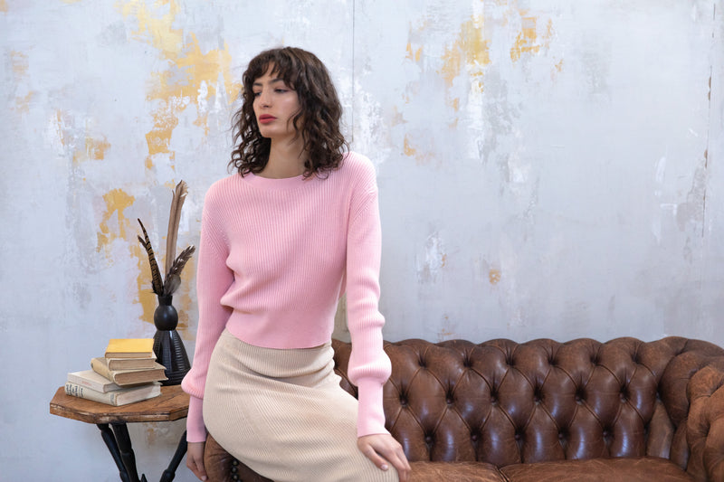 Cropped Cotton Rib Crew - Peachy Pink by  St Cloud Label