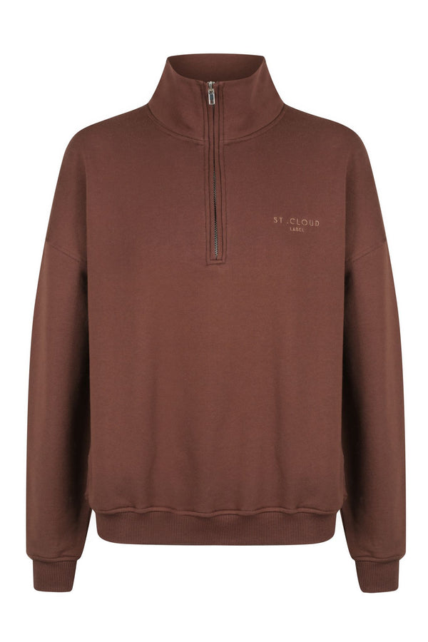1/4 Zip Sweat - Chocolate