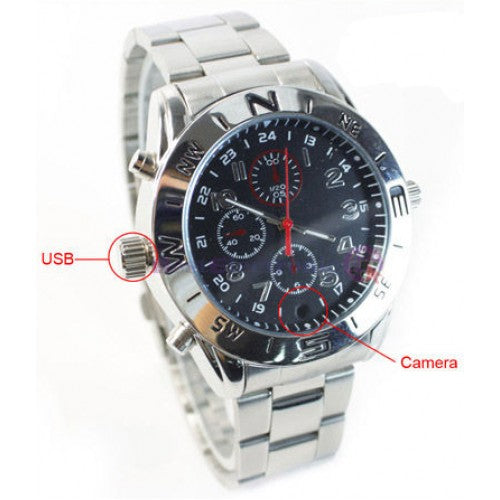 Sports Silver Spy Camera Hidden Video Audio Recorder Watch DVR - GoLive Shopping Network