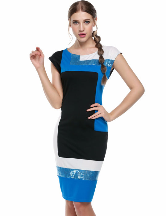 VenusFox Fashion Geometrical Short Sleeve O-neck Pencil Bodycon Dress