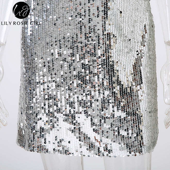VenusFox Off Shoulder Silver Sequined Backless Sexy Dress