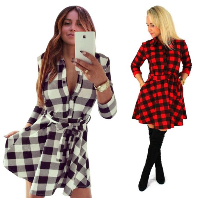 VenusFox Vintage Plaid Print Bodycon Shirt Dresses With Belt