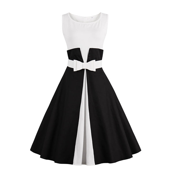 VenusFox 50s Vintage Black White Dress
