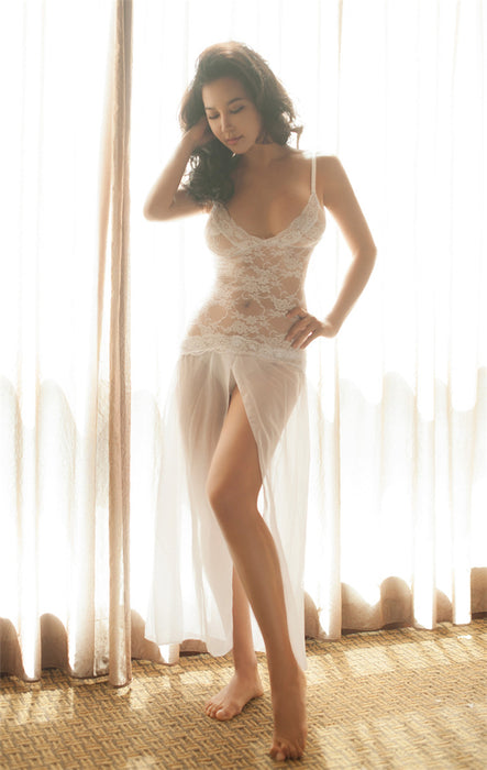 0566a2a8f83 VenusFox White Sexy Lingerie Dress Transparent Lace Hollow Night Wear
