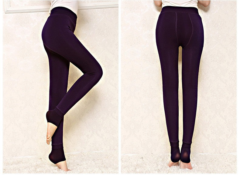 VenusFox 8 Colors Plus Size Winter Warm Velvet Knitted Leggings