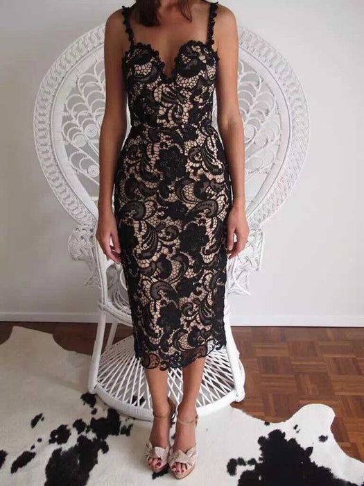 VenusFox White/ Black Sexy Sleeveless Lace Party dress