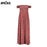 VenusFox Pleated Tunic Red Floral Off Shoulder High Split Maxi Dress