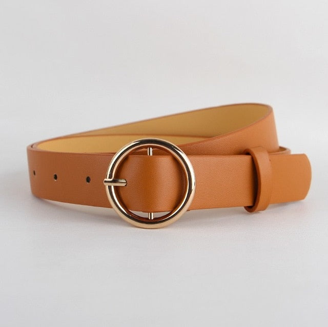 Fashion Simple Circle Pin Gold Buckles Wild  Belt  for women