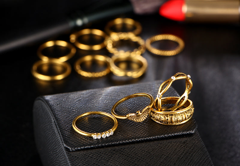Women 12 pc/set Vintage Boho Charm Gold Color Midi Finger Party Punk Jewelry Ring Set