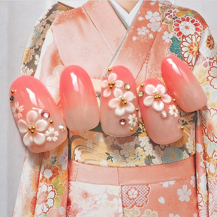 24pcs Fashion Long Fake Nails Tips Oval Pink Japanese Kimono Cherry Style