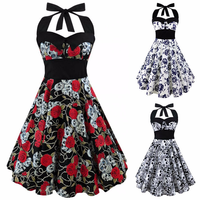 VenusFox Retro Vintage Sleeveless Halter Floral Printed Party Sexy Casual Dress