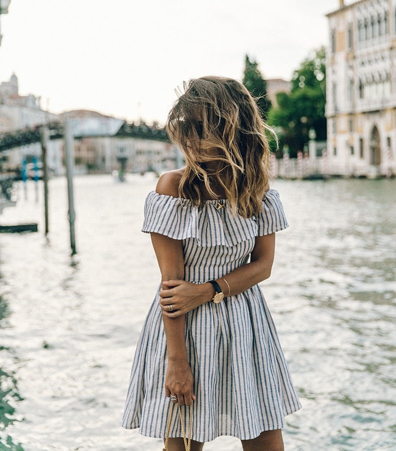 VenusFox Sexy Striped off shoulder Casual Dress
