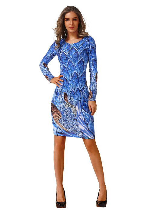 VenusFox Women Casual Plus Size Long Sleeve Office Bodycon Dress