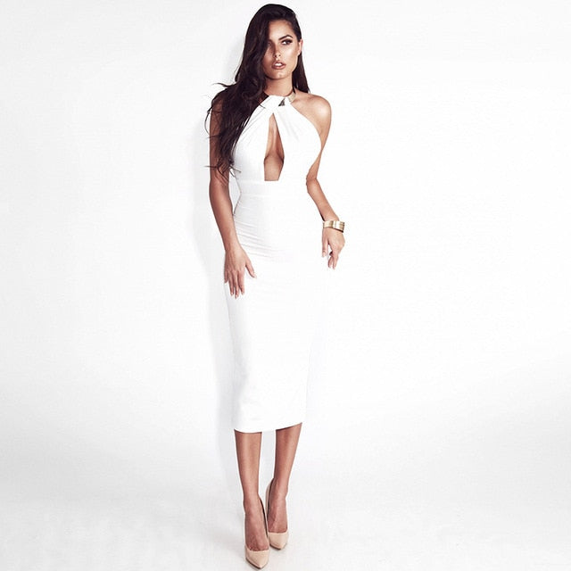 VenusFox Hollow Out Off Shoulder Choker Long Bodycon Dress