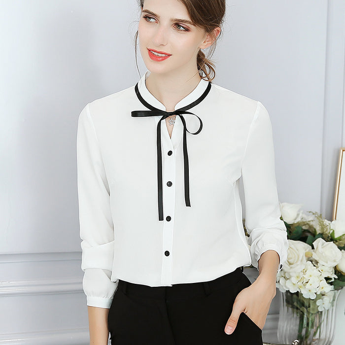 VenusFox Office Long Sleeve Bow Blouse Bodycon Work Blouses