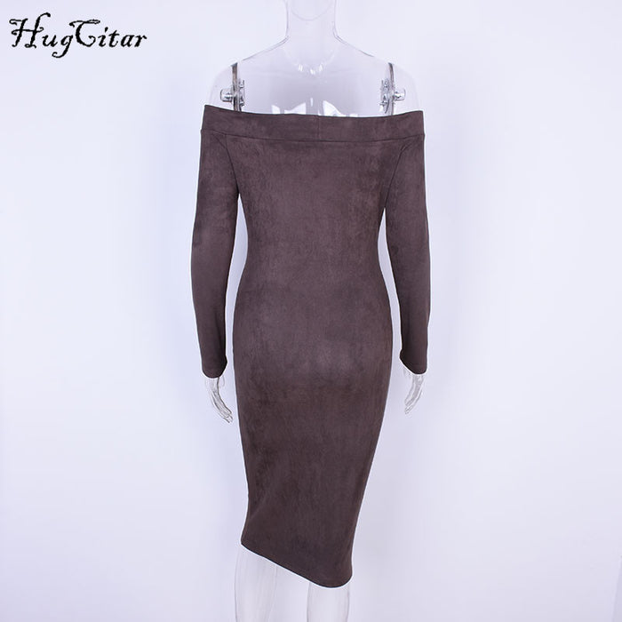 VenusFox Long Sleeve off shoulder mid-calf Dress