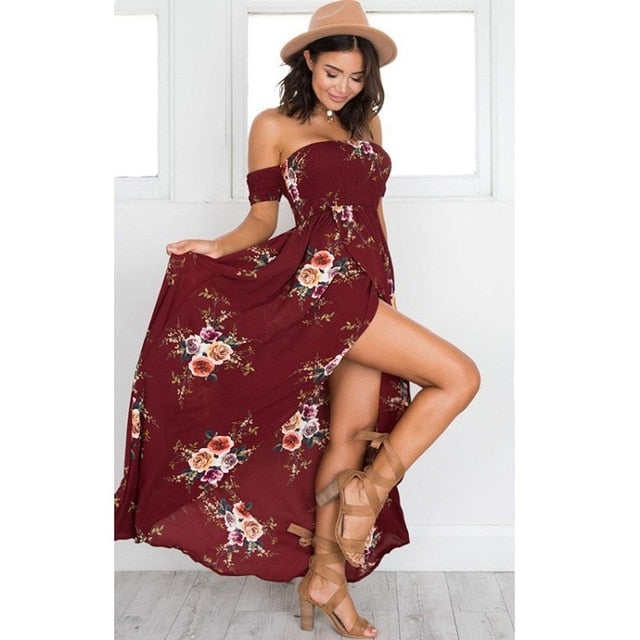 VenusFox Off Shoulder Floral Print Strapless Long Maxi Dress