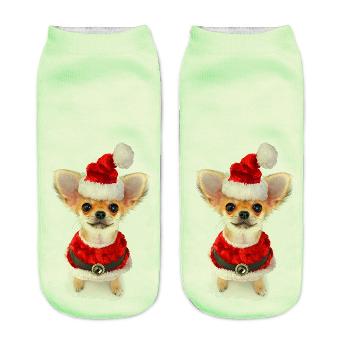 VenusFox Women Fashion 3D Printing Funny Cat Low Ankle Socks