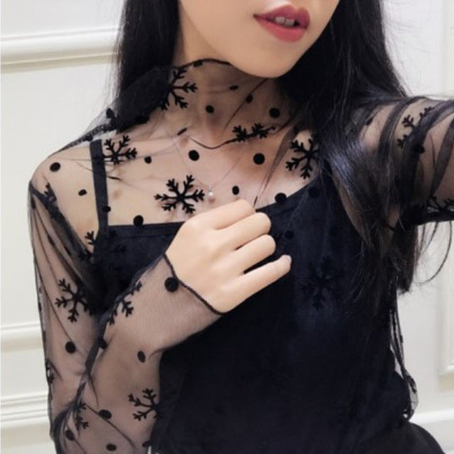 VenusFox Mesh Blouse Long Sleeve Stand Collar Polka Dot Transparent Elegant Tops