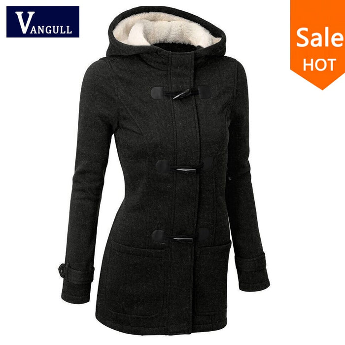 VenusFox Hooded Zipper Button Causal Coat