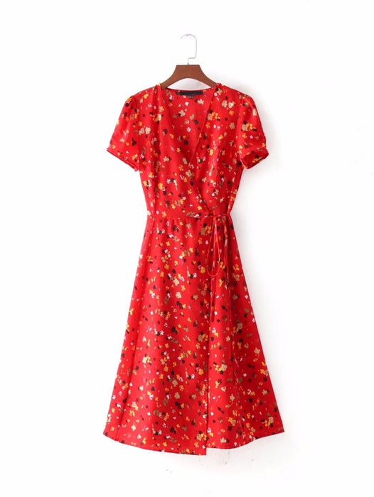 VenusFox Women Summer Floral A-line Short Sleeve Cross V Neck Tie Waist Wrap Midi Dress