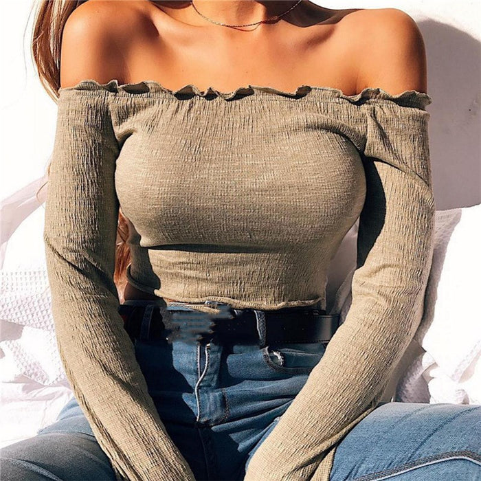 VenusFox Off Shoulder Cropped Top Ribbed Long Sleeve Bodycon Cotton Tops